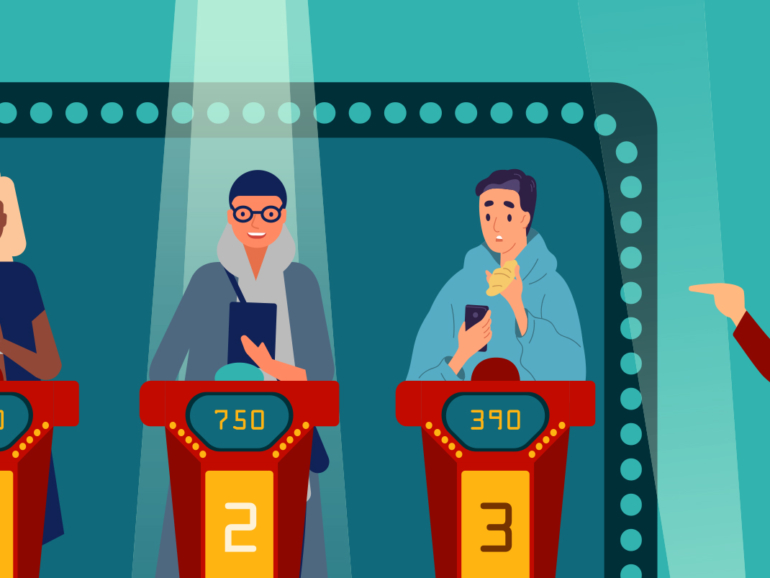 Smartphone app for game show in zoom video conferences